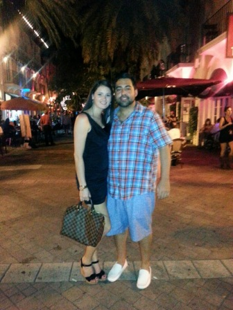 Leo and I so happy after dinner and a walk along Espanola Way.