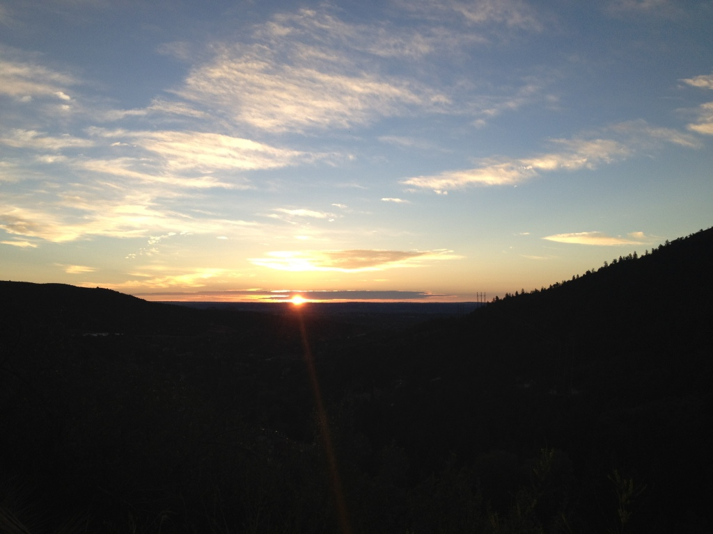 Hit the trail an hour and a half later than planned, but got to see a great sunrise at the trailhead for Pike's Peak!