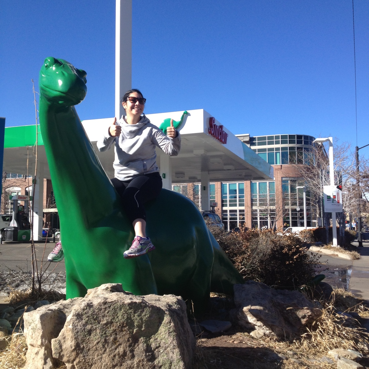 When you see a large green dinosaur, you hop on. Duh.